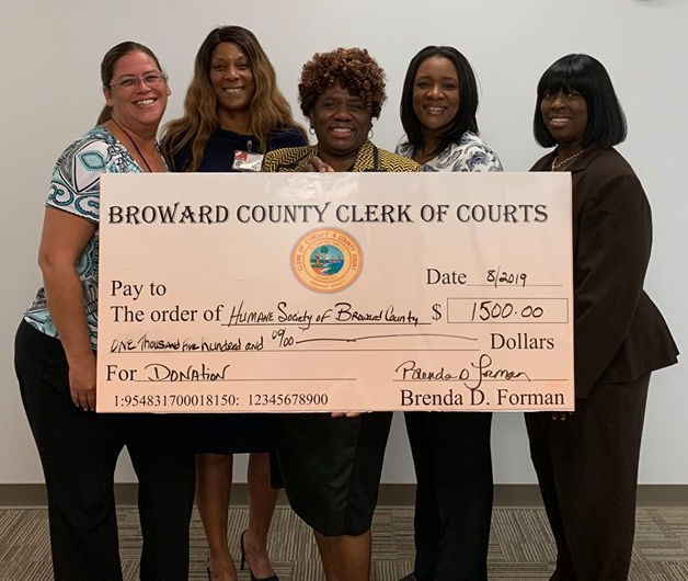 Clerks for Community donation to Humane Society Broward County