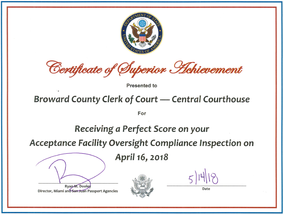 Certificate of Superior Acheivement - Central Courthouse